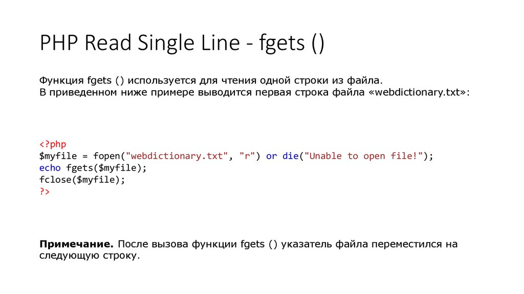 PHP Read Single Line - fgets ()