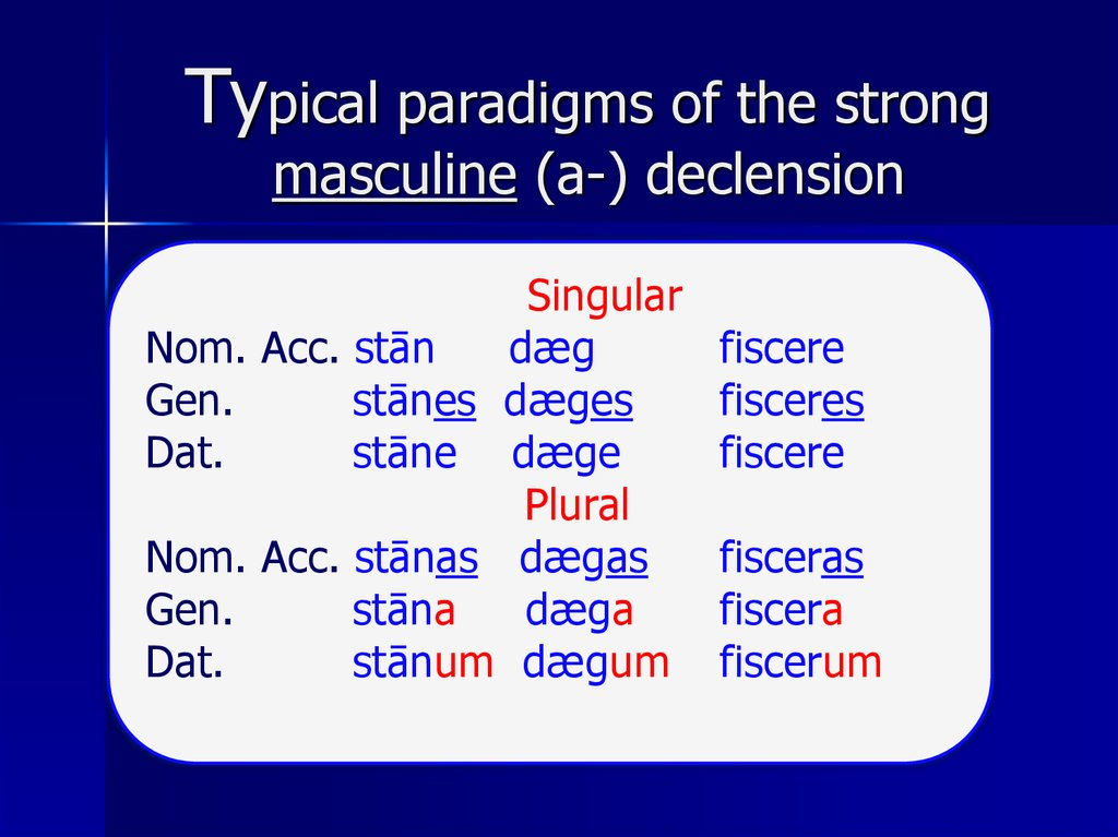 Typical paradigms of the strong masculine (a-) declension