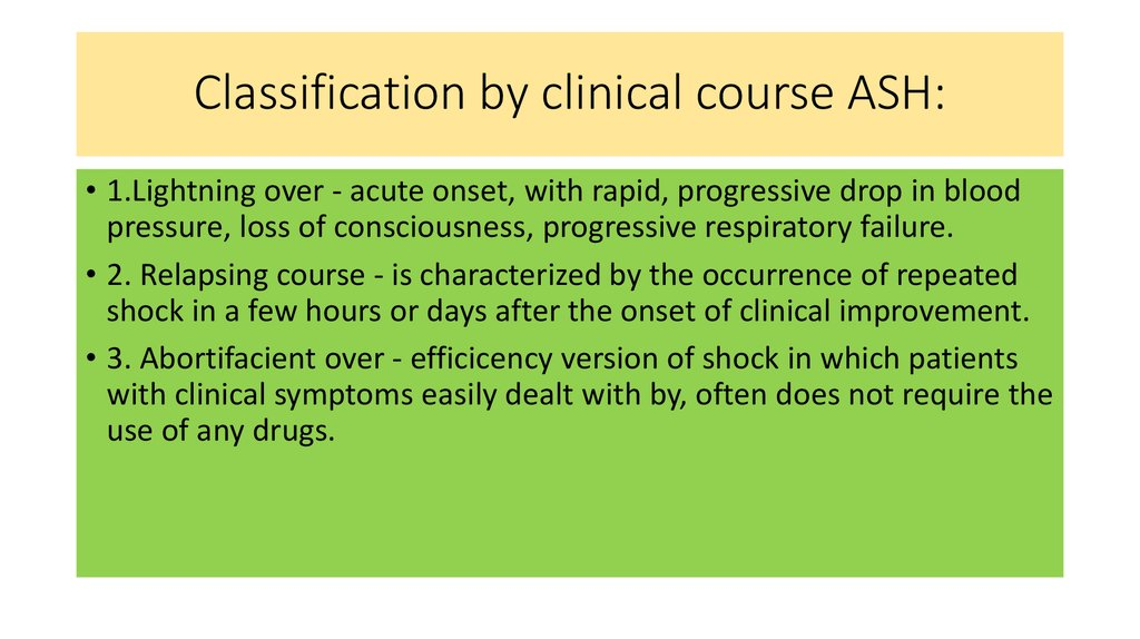 Classification by clinical course ASH: