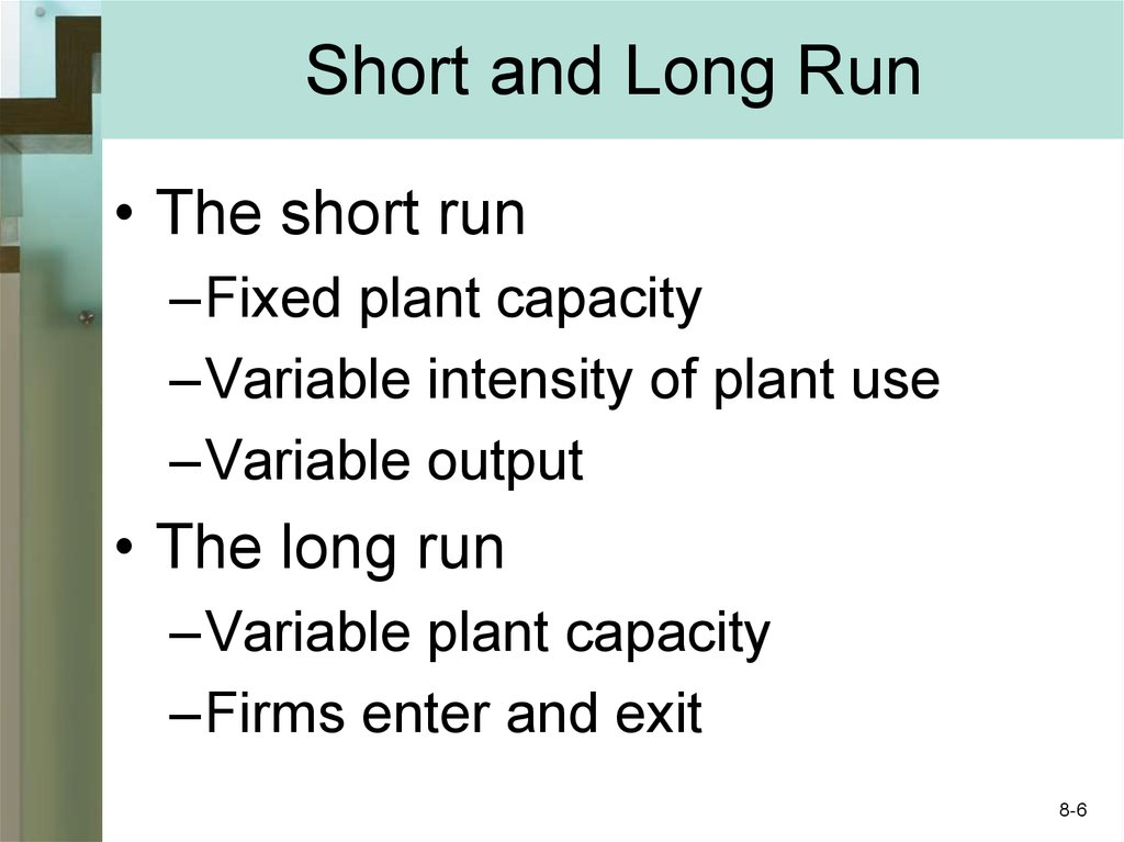Short and Long Run
