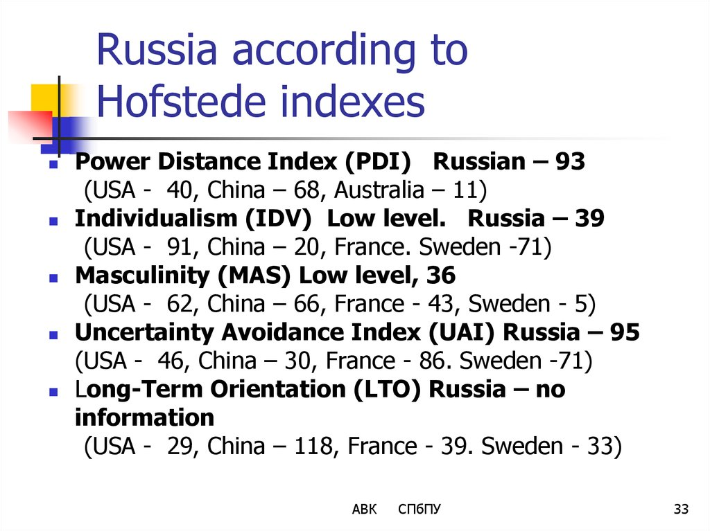 Russia according to Hofstede indexes