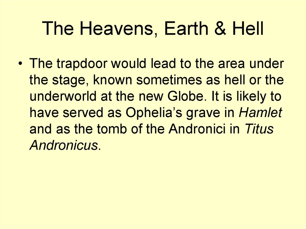 The Heavens, Earth & Hell