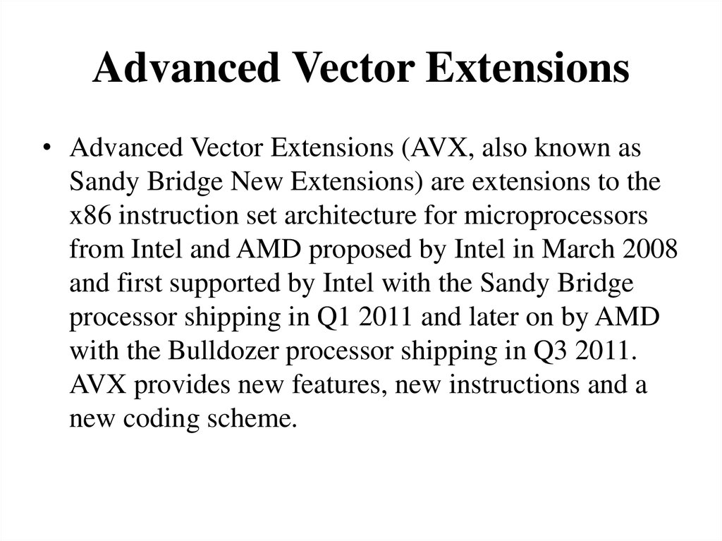 Advanced Vector Extensions Avx Instruction Set Architecture