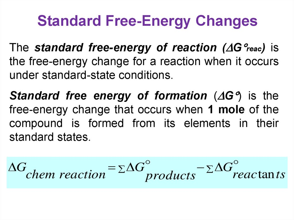 Standard Free-Energy Changes