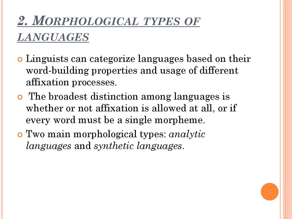 2. Morphological types of languages