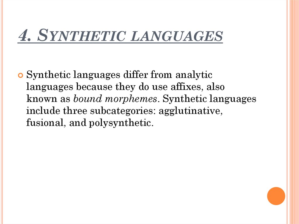 4. Synthetic languages