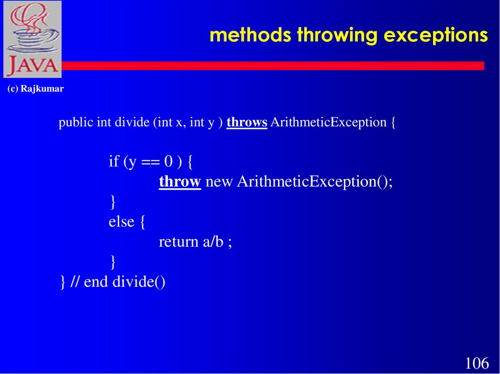 methods throwing exceptions