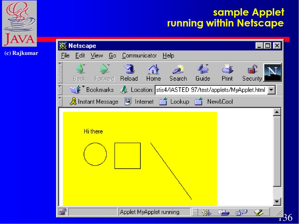 sample Applet running within Netscape