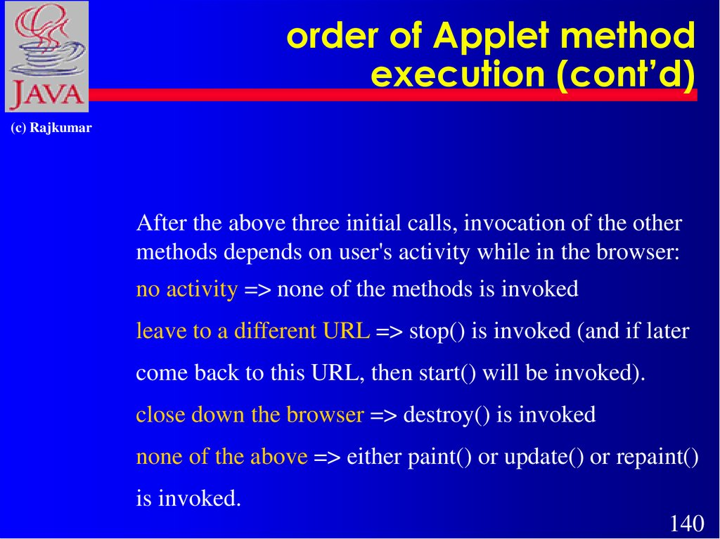 order of Applet method execution (cont'd)