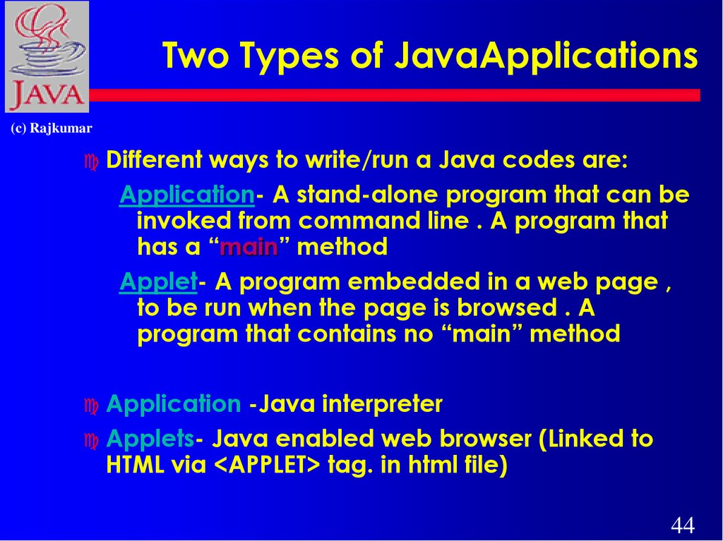 Two Types of JavaApplications