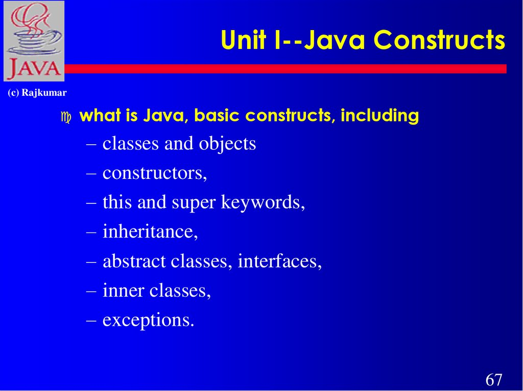Unit I--Java Constructs