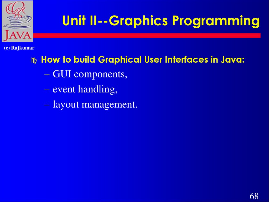 Unit II--Graphics Programming