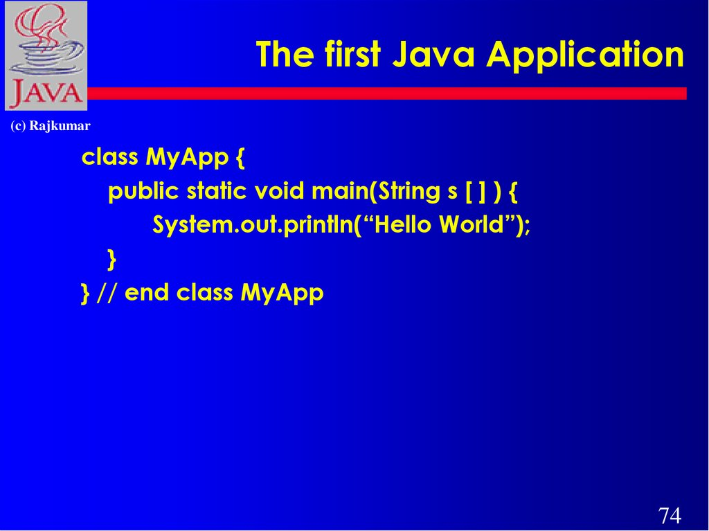 The first Java Application