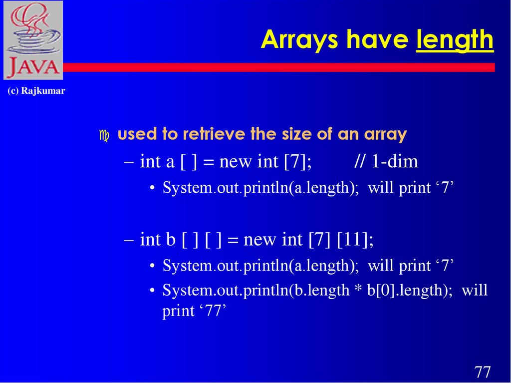 Arrays have length