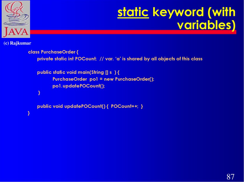 static keyword (with variables)