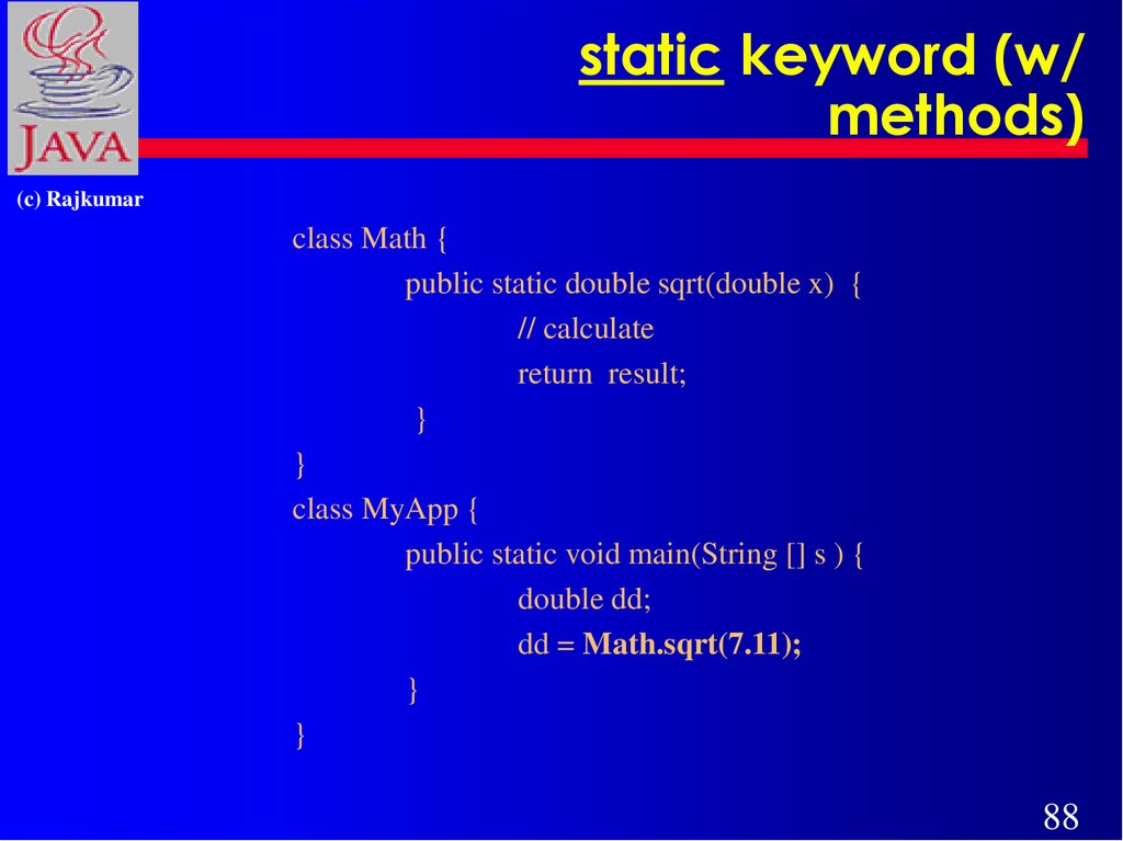 static keyword (w/ methods)