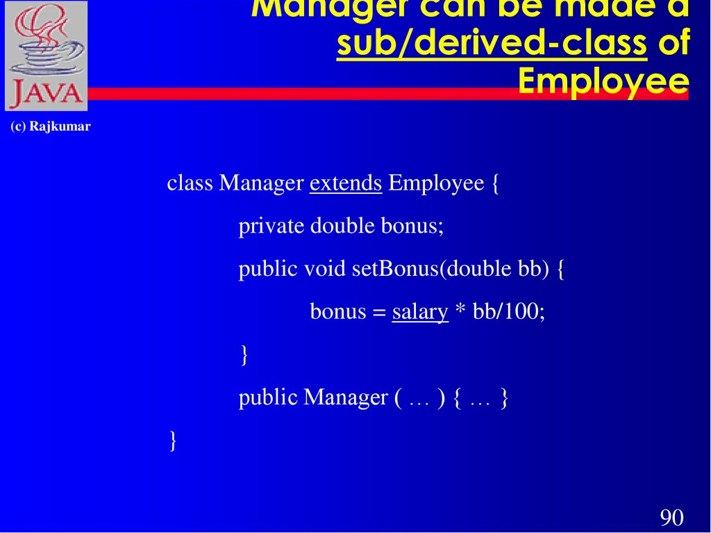 Manager can be made a sub/derived-class of Employee