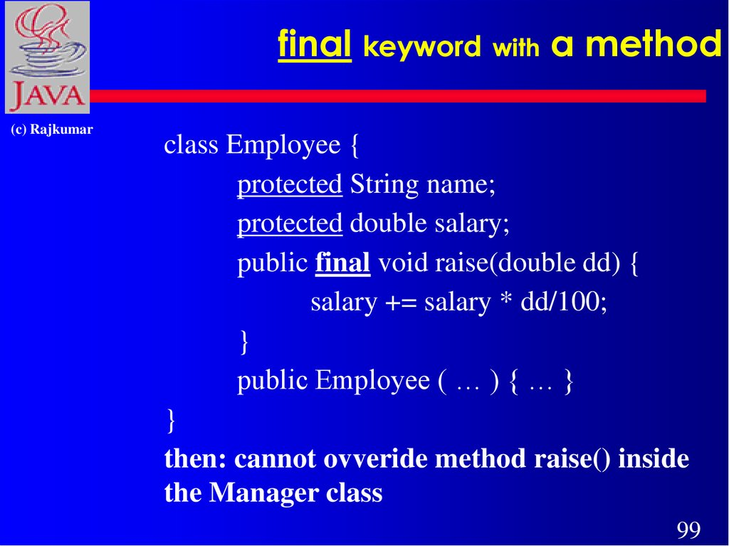 final keyword with a method