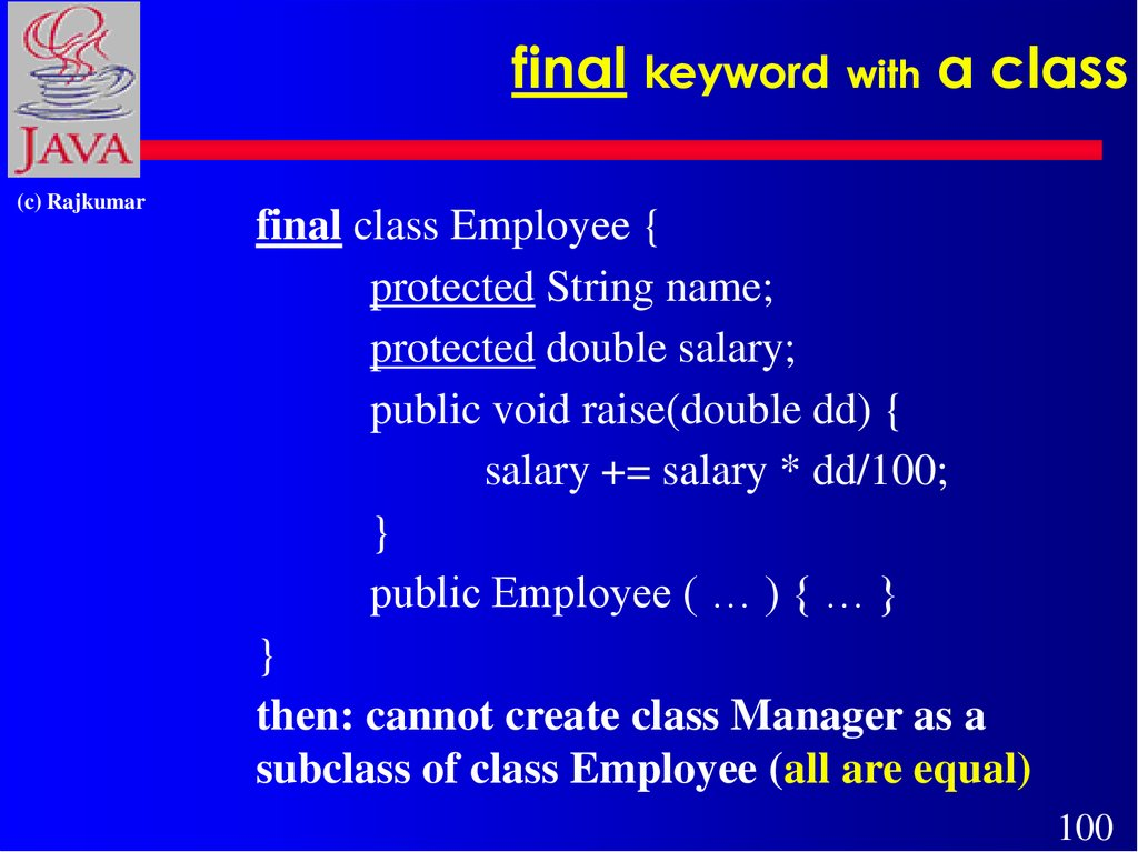 final keyword with a class