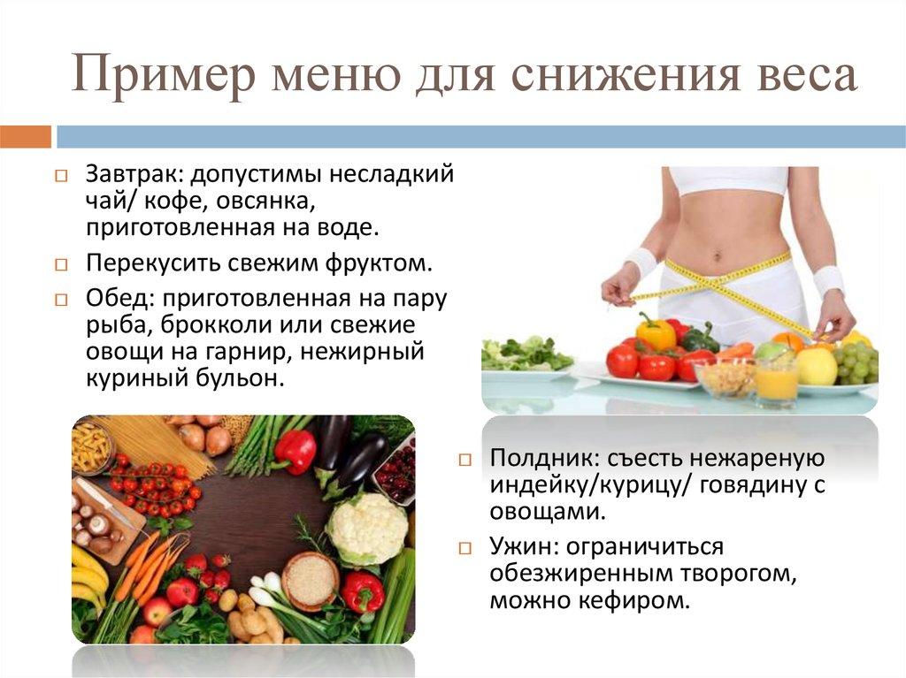 Пример питания для похудения женщинам