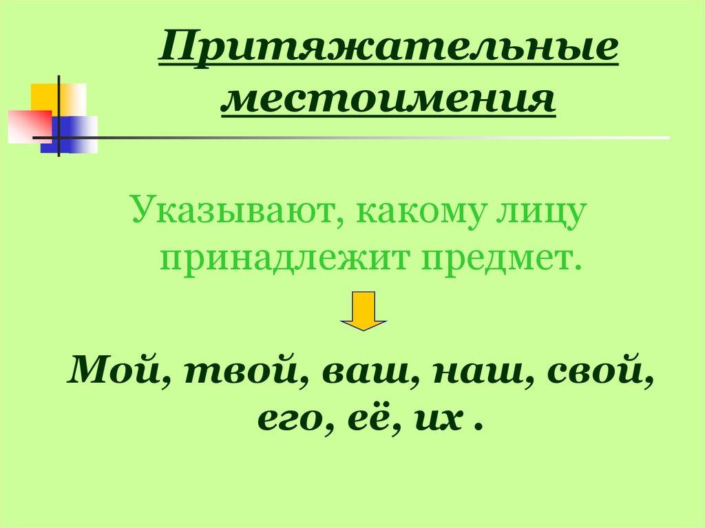 Картинки притяжательные местоимения на русском