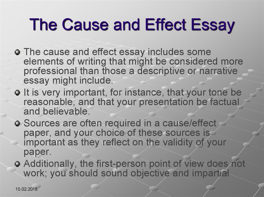 the cause effect essay Review the basic concepts and essay structure for the cause and effect college composition essay get my new grammar books.