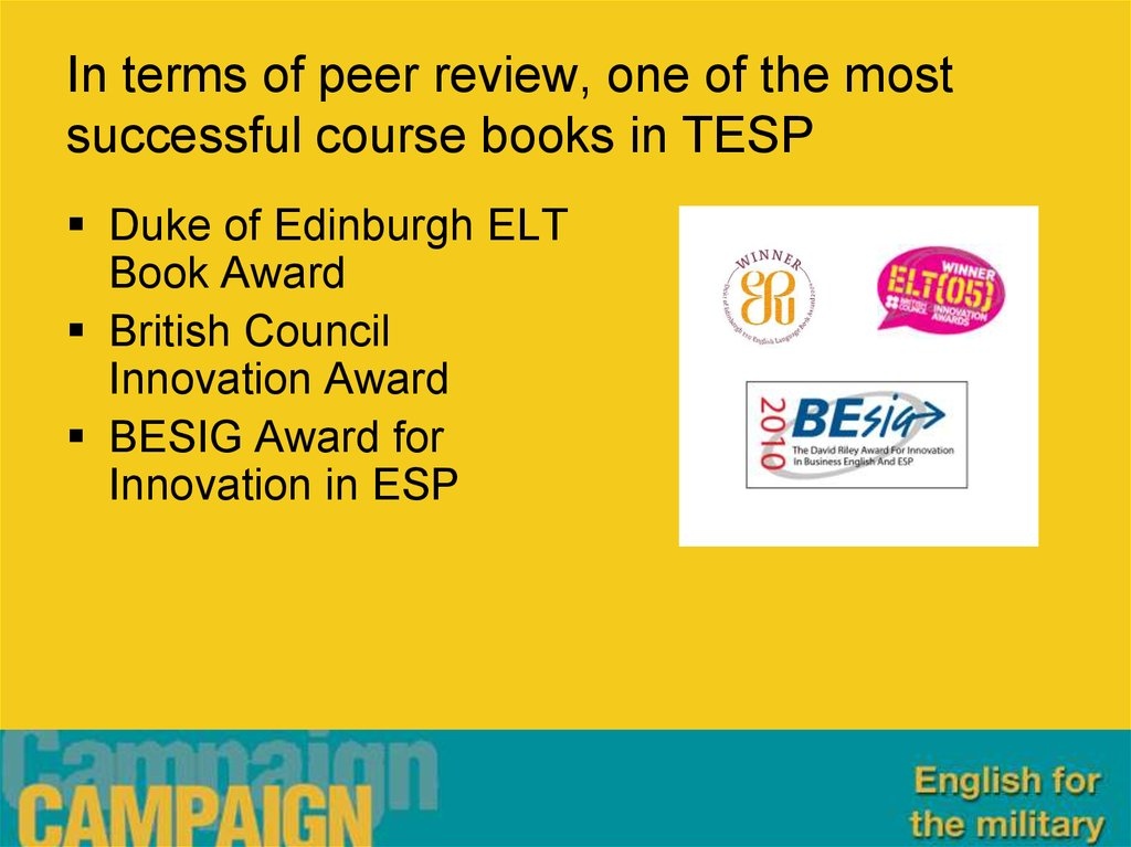 In terms of peer review, one of the most successful course books in TESP
