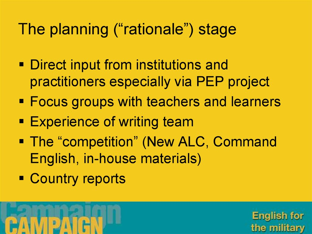 "The planning (""rationale"") stage"