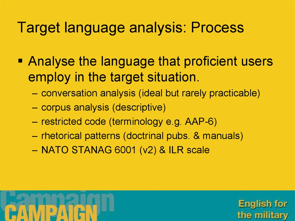 Target language analysis: Process