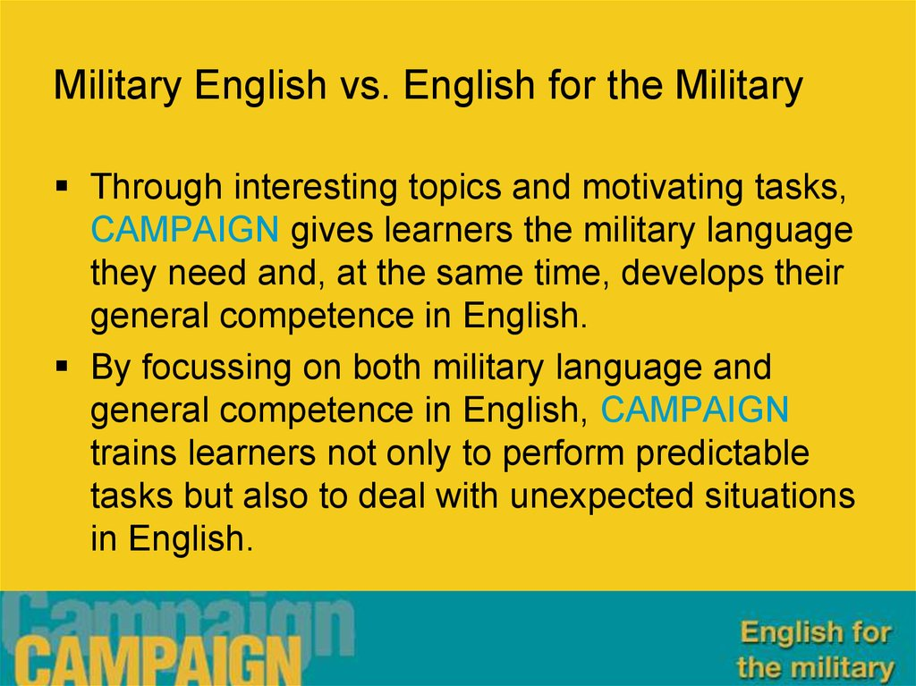 Military English vs. English for the Military