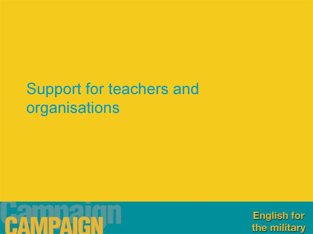 Support for teachers and organisations