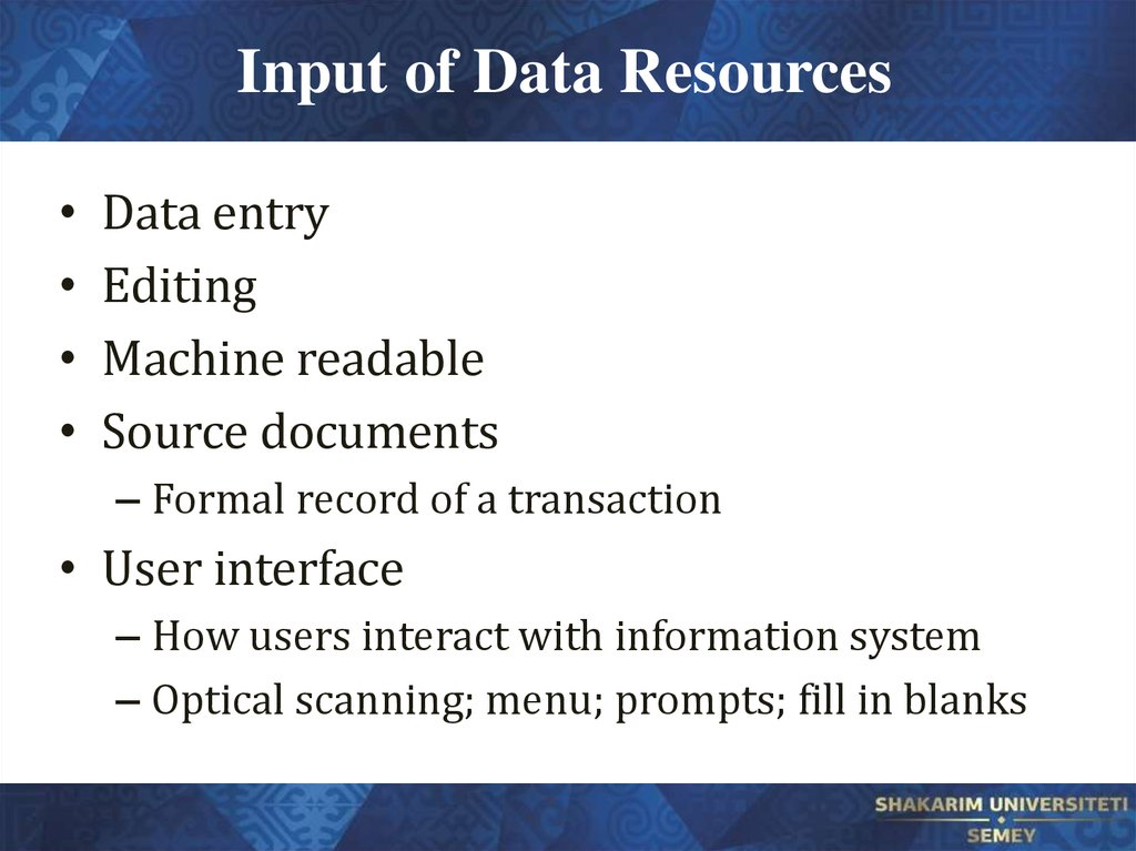 Input of Data Resources
