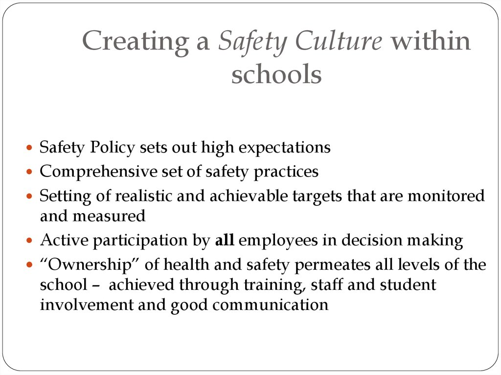 providing safety measures within schools