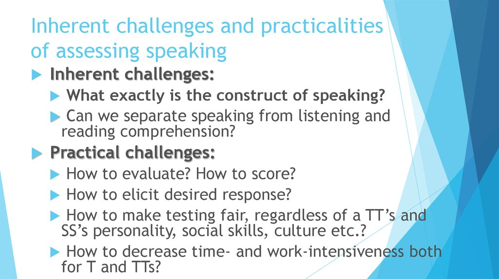 Inherent challenges and practicalities of assessing speaking