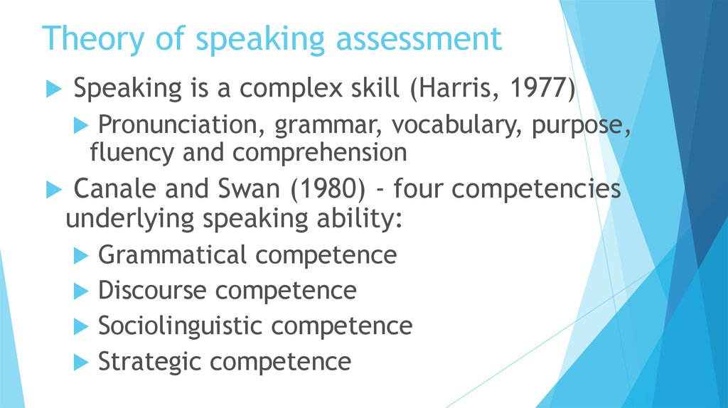 Theory of speaking assessment