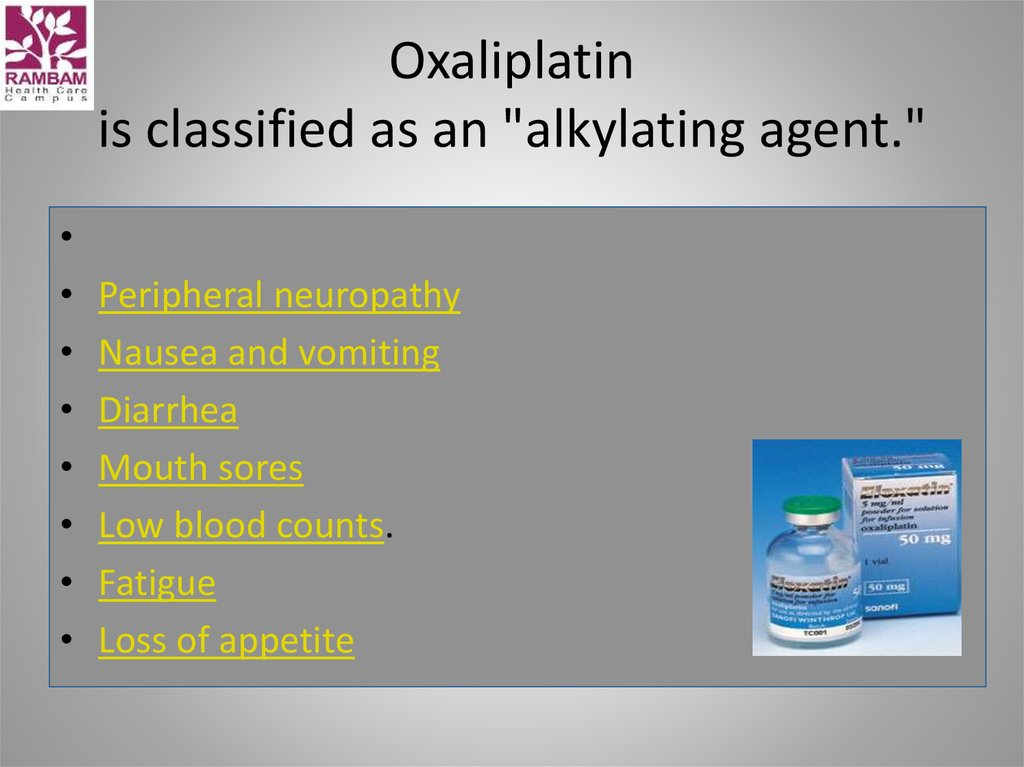 "Oxaliplatin is classified as an ""alkylating agent."""
