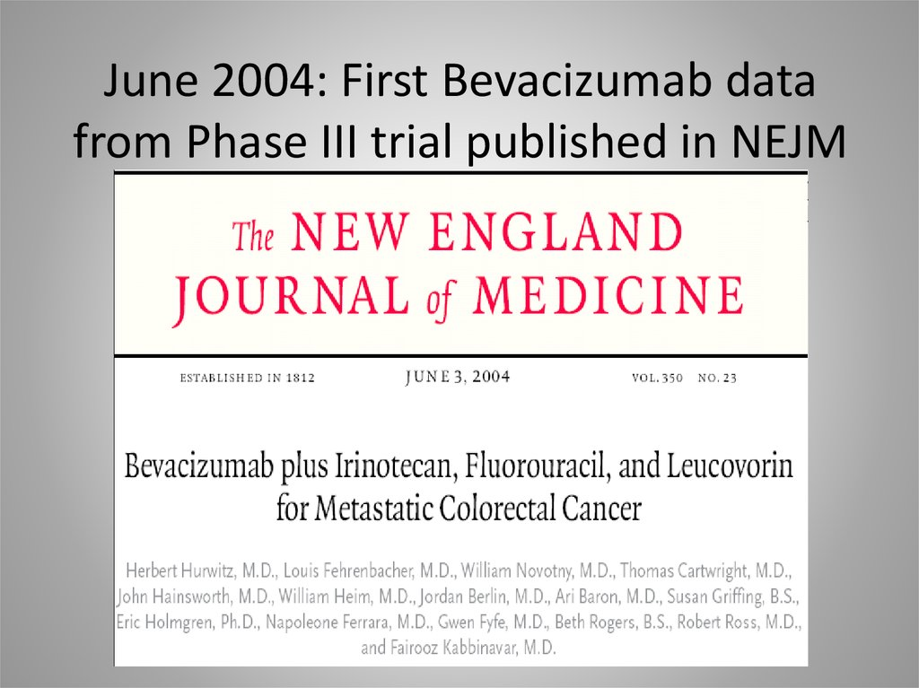 June 2004: First Bevacizumab data from Phase III trial published in NEJM