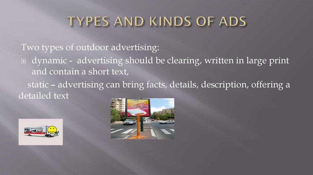 TYPES AND KINDS OF ADS