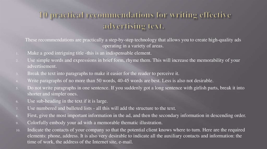 10 practical recommendations for writing effective advertising text.