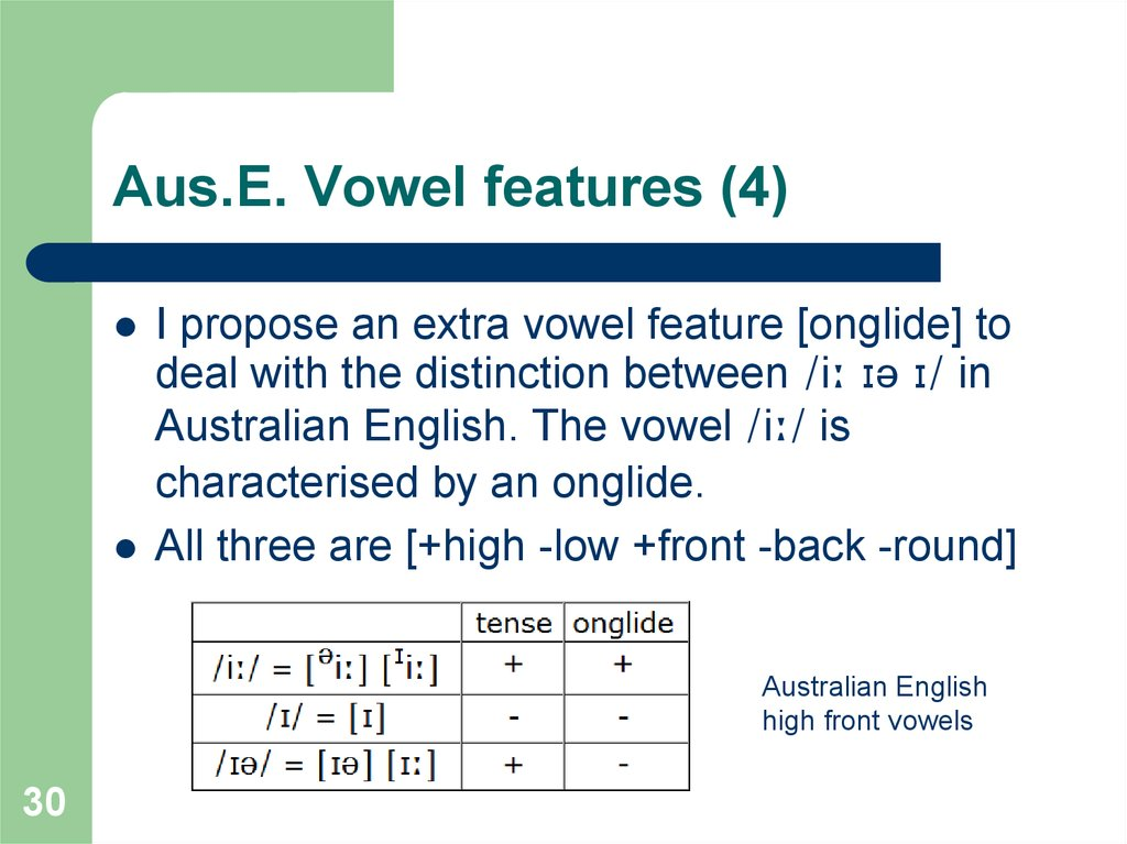 Aus.E. Vowel features (4)