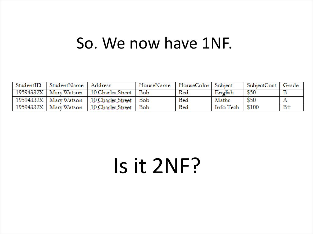 So. We now have 1NF.