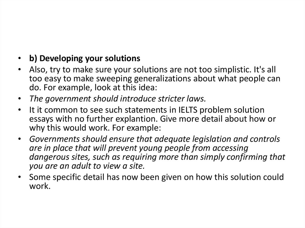 easy solutions essay Ielts cause solution essay band 9 model for an ielts cause and solution essay in writing task 2 on the make your paragraphs very easy for the.
