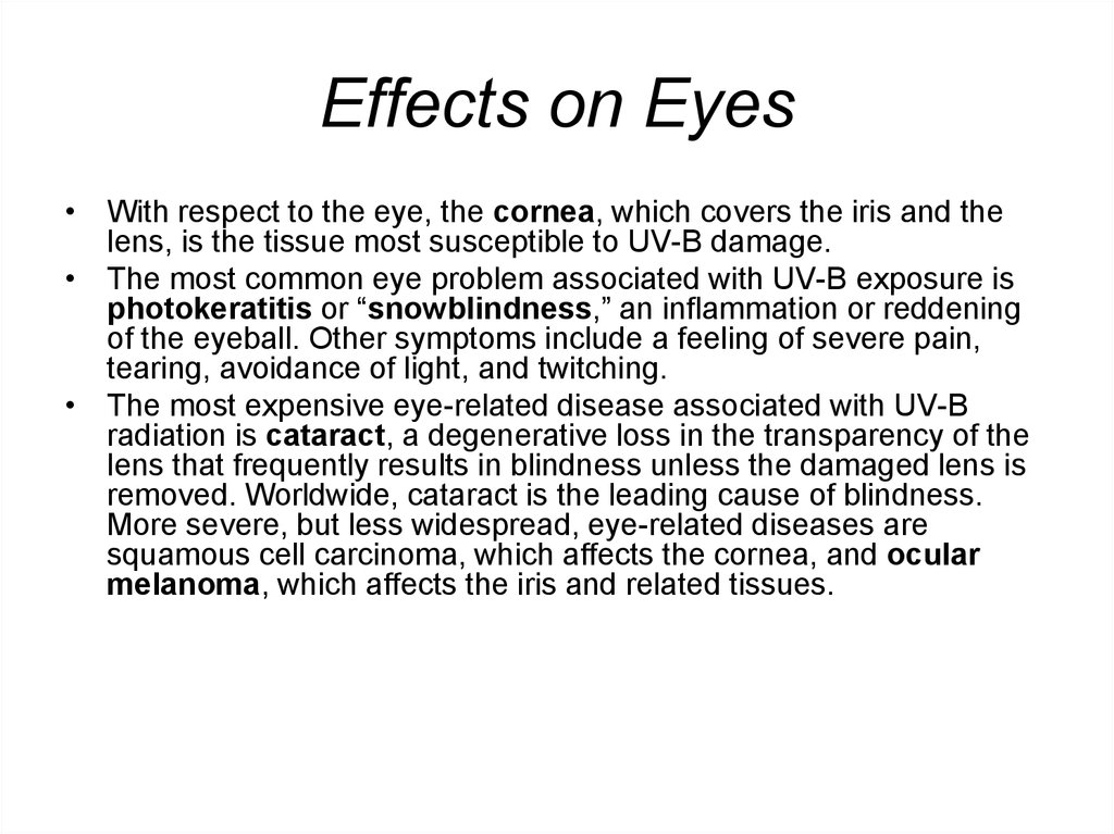 Effects on Eyes