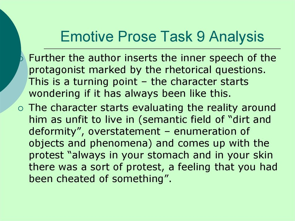 Emotive Prose Task 9 Analysis