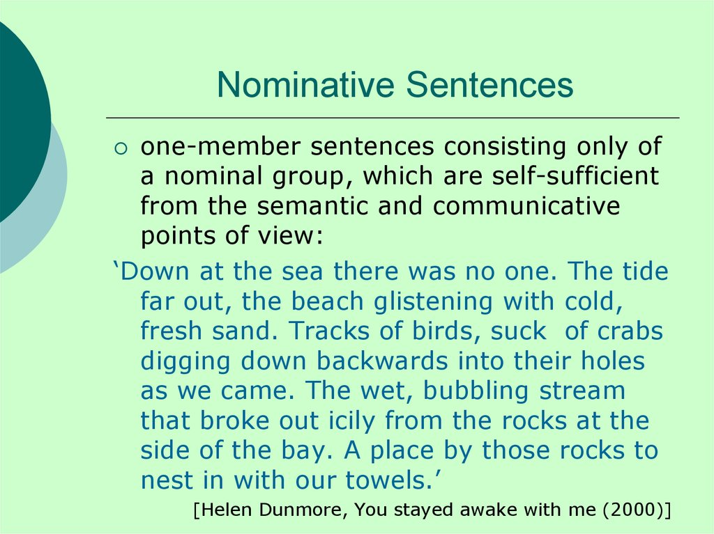 Nominative Sentences