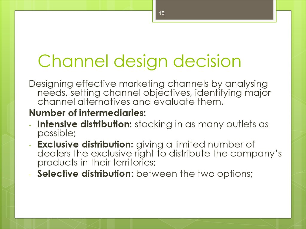 channel objective possibilities Channel management: remember, these are just examples of strategic objectives sometimes seeing an example makes understanding the process easier.