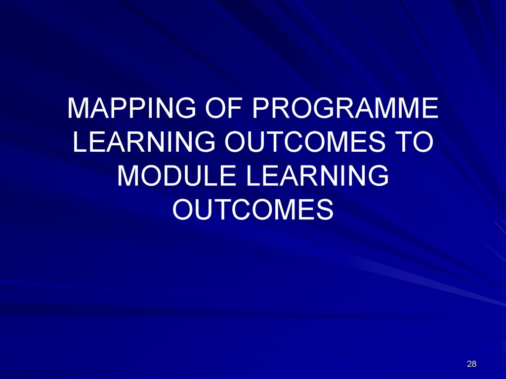 MAPPING OF PROGRAMME LEARNING OUTCOMES TO MODULE LEARNING OUTCOMES