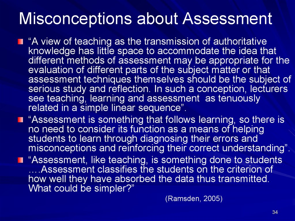 Misconceptions about Assessment
