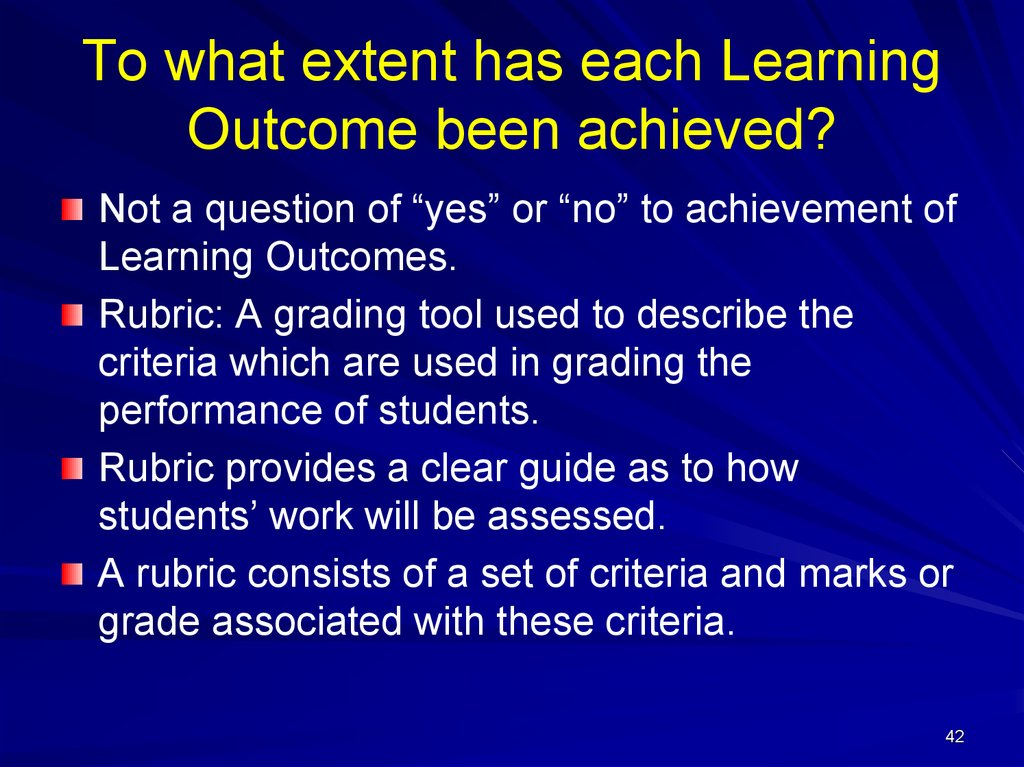 To what extent has each Learning Outcome been achieved?