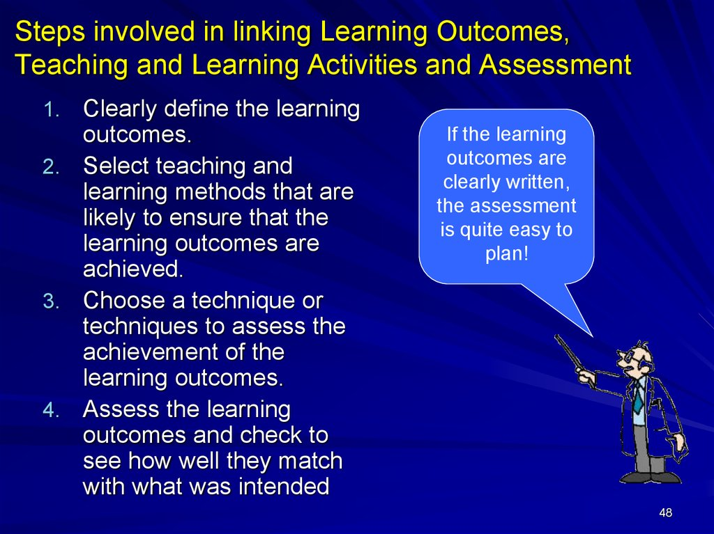 Steps involved in linking Learning Outcomes, Teaching and Learning Activities and Assessment